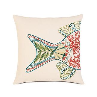 Suwanee Hand-Painted Fish Tail Decorative Pillow