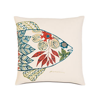 Suwanee Hand-Painted Fish Head Decorative Pillow