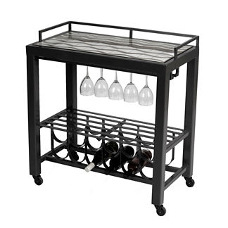 Shorewood Midnight Modern Serving Cart Table