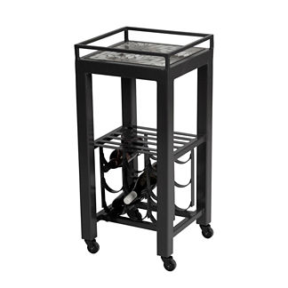 Shorewood Midnight Modern Wine Cart Table