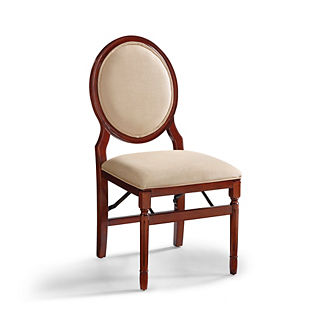 Oval Back Folding Chairs, Set of Two