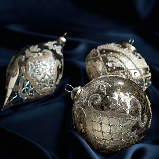Vintage Glass Ornaments, Set of 12