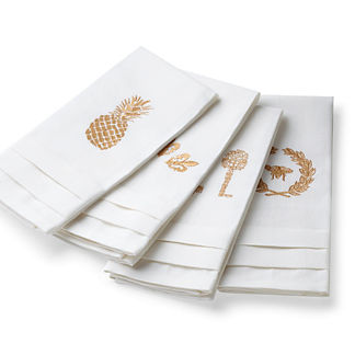 Pleated Linen Guest Towels, Set of Four