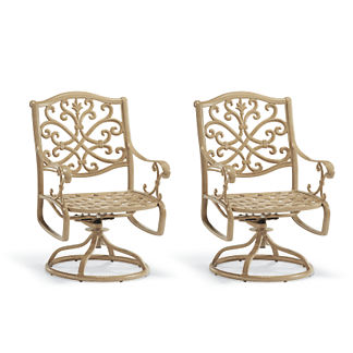 Set of Two Orleans Swivel Dining Arm Chairs in Biscayne Finish