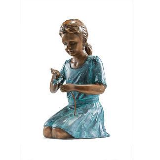 Girl Plucking Flower Petal Statue