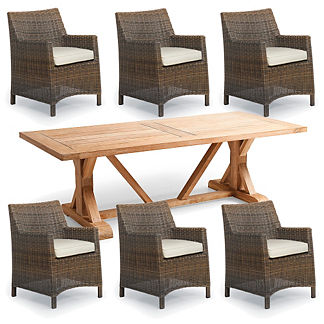 Hyde Park 7-pc. Washed Teak Table Dining Set in Ocean Grey Finish