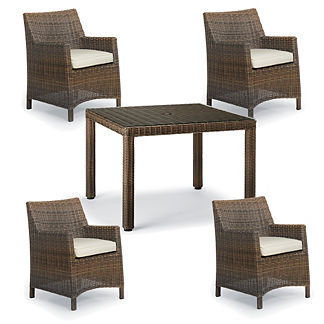 Hyde Park 5-pc. Woven Square Dining Set in Ocean Grey Finish