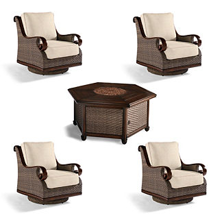 St. Martin 5-pc. Chat Set with Woven Fire Table