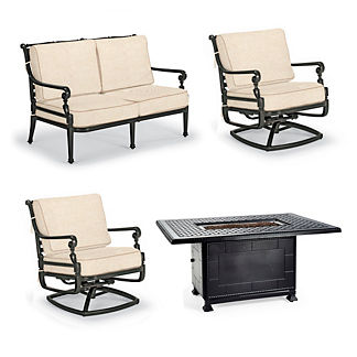 Carlisle 4-pc. Loveseat Set with Fire Table in Onyx Finish