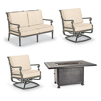Carlisle 4-pc. Loveseat Set with Fire Table in Slate Finish