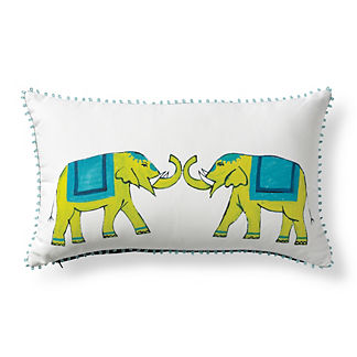 Roaming Elephants Tropic Outdoor Lumbar Pillow
