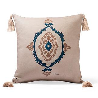 Canvas Ironwork Sand Outdoor Throw Pillow