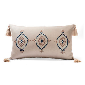 Canvas Ironwork Sand Outdoor Lumbar Pillow