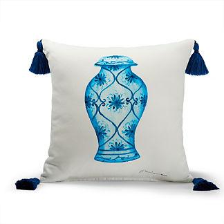 Porcelain Vase Indigo Outdoor Pillow