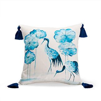 Wading Cranes Indigo Outdoor Pillow