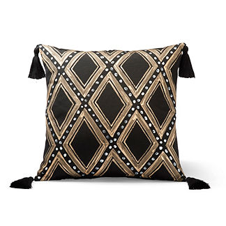 Diamond Glam Black Outdoor Pillow