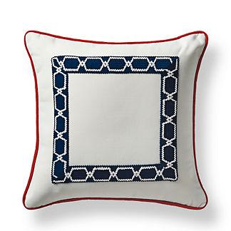 Mediterranean Border Indigo Outdoor Pillow