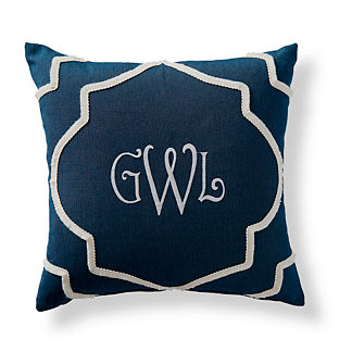 Mycenean Monogrammed Indigo Outdoor Pillow