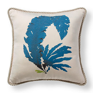 Coral Fan Navy Outdoor Pillow