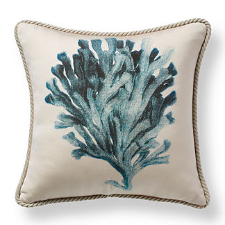 Etched Coral Indigo Outdoor Pillow