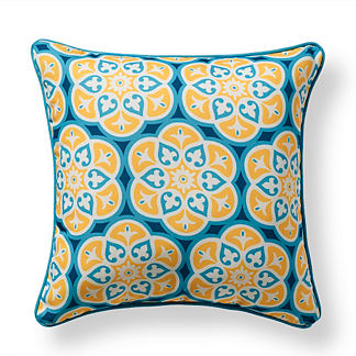 St. Barts Tile Ocean Outdoor Pillow