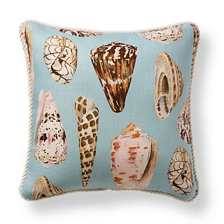 Scalamandre Coquina Sea Blue Outdoor Pillow