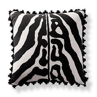 Scalamandre Zebra Skin Onyx Outdoor Pillow