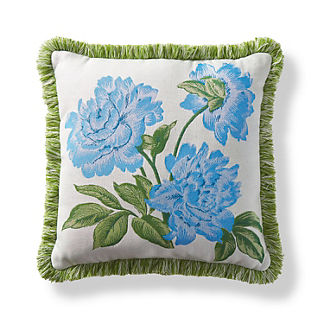 Peony Spring Air Blue Outdoor Pillow