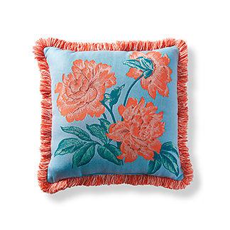 Peony Spring Sky Outdoor Pillow