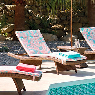 Balencia Single Chaise Cushion in Bermuda Breeze Tropical