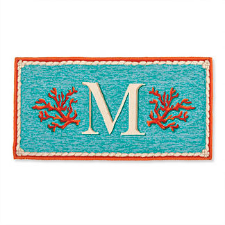 Coral Monogram Door Mat
