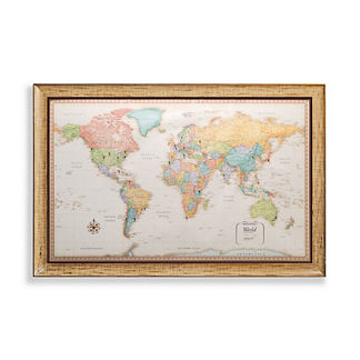 World Magnetic Travel Map with Antique White Frame