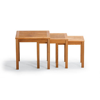 Set of Three Isola Teak Nesting Tables