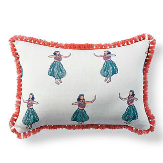 Margaritaville Hula Girl Aruba with Eyelash Fringe Lumbar Pillow