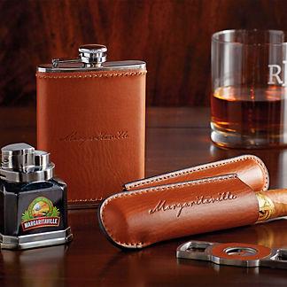 Margaritaville Cigar Holder, Cigar Cutter, Flask Gift Set