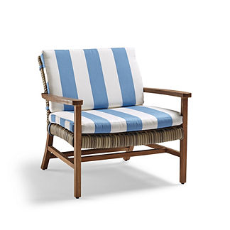 Isola Lounge Chair Cushions in Resort Stripe Air Blue
