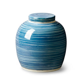 Linear Ceramic Blue Pot
