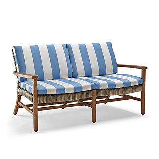 Isola Loveseat Cushions in Resort Stripe Air Blue