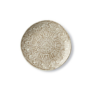 Embossed Floral Dinner Plates, Set of Four