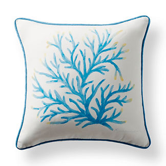 Handpainted Coral Outdoor Pillow