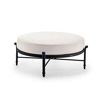 Grayson Round Ottoman with Cushion in Black Finish