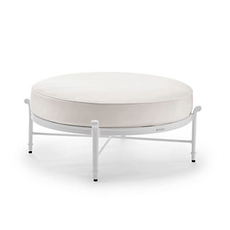 Grayson Round Ottoman with Cushion in White Finish, Special Order