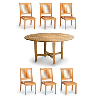 Cassara 7-pc. Round Dining Set in Natural Finish
