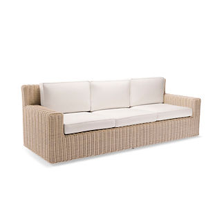 Hyde Park Sofa with Cushions in Ivory Finish, Special Order