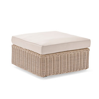 Hyde Park Ottoman with Cushion in Ivory Finish, Special Order