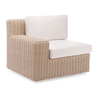 Hyde Park Left-facing Arm Chair with Cushions in Ivory Finish