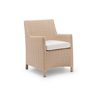 Hyde Park Set of Two Dining Arm Chairs with Cushions in Ivory Finish, Special Order
