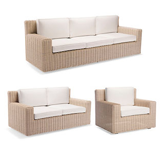 Hyde Park 3-pc. Sofa Set in Ivory Finish
