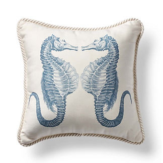 Mirrored Seahorse Cobalt Outdoor Pillow