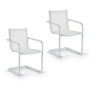 Palazzo Shell Set of Two Sling Dining Arm Chairs by Porta Forma